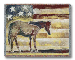 Horse Red/White/Blue Throw