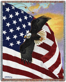 Majestic Flag and Eagle Throw