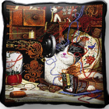 Maggie the MessmakerCat Pillow by Charles Wysocki
