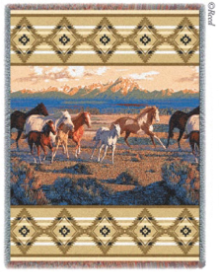 Wild Horses - Beige Throw