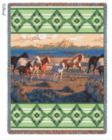 Wild Horses - Green Throw